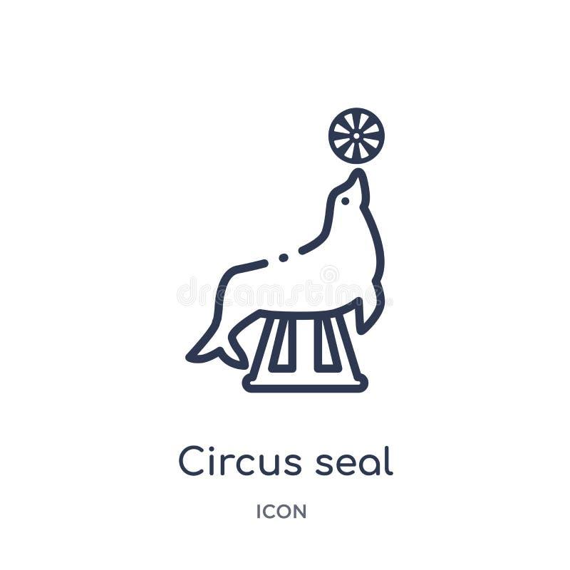 Icono linear del sello del circo de la colección del esquema del circo Línea fina vector del sello del circo aislado en el fondo  stock de ilustración