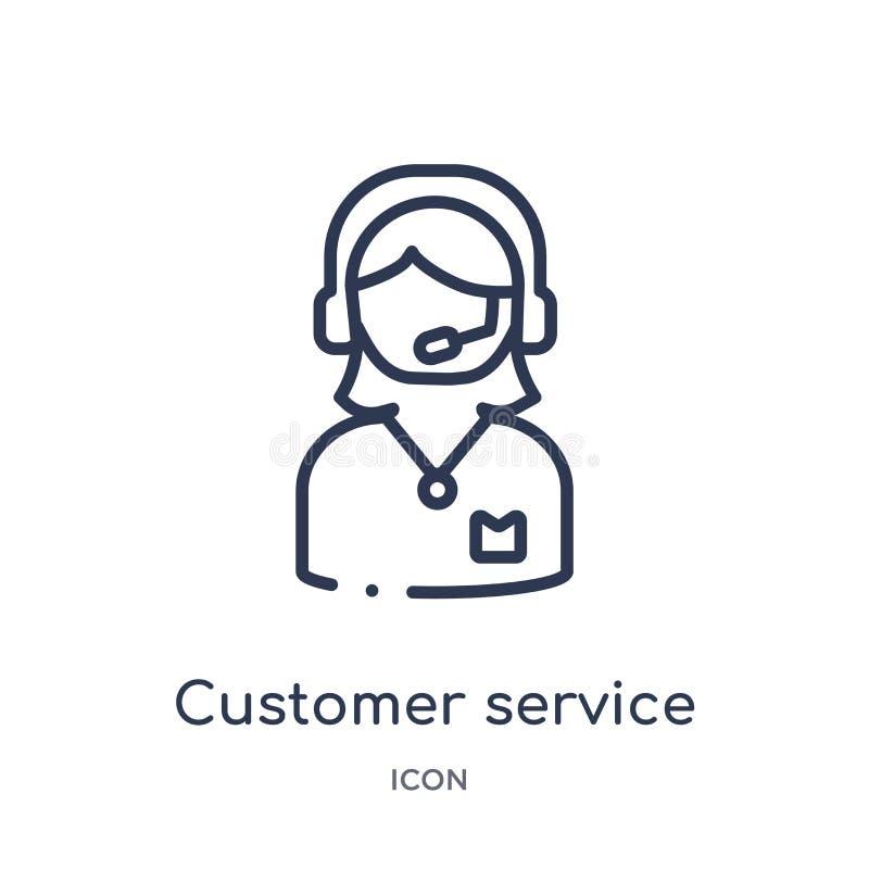 Icono linear del servicio de atención al cliente de la colección del esquema del servicio de atención al cliente Línea fina vecto stock de ilustración