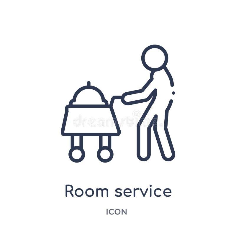 Icono linear del servicio de habitación de la colección del esquema del hotel Línea fina icono del servicio de habitación aislado ilustración del vector