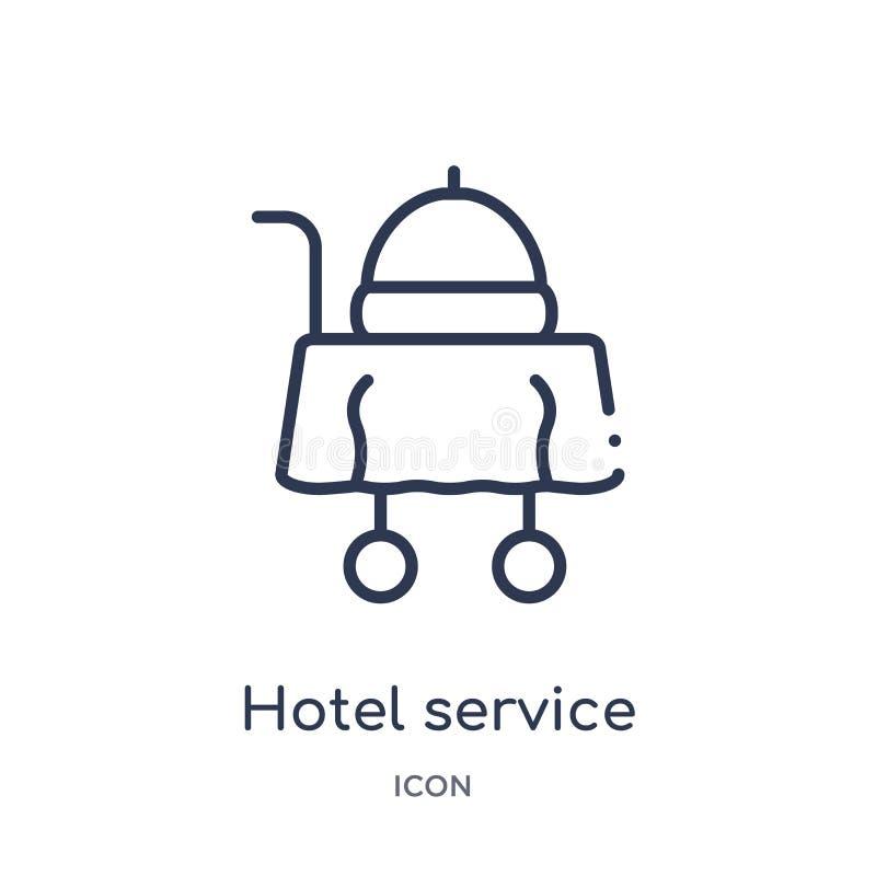 Icono linear del servicio de hotel de la colección del esquema de la comida Línea fina icono del servicio de hotel aislado en el  libre illustration