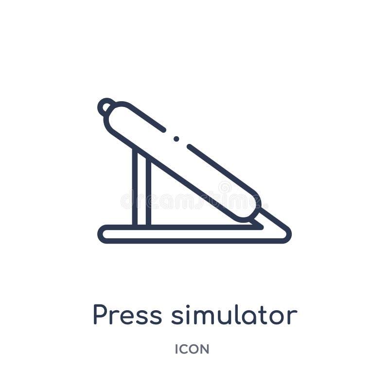 Icono linear del simulador de la prensa del gimnasio y de la colección del esquema de la aptitud Línea fina icono del simulador d ilustración del vector