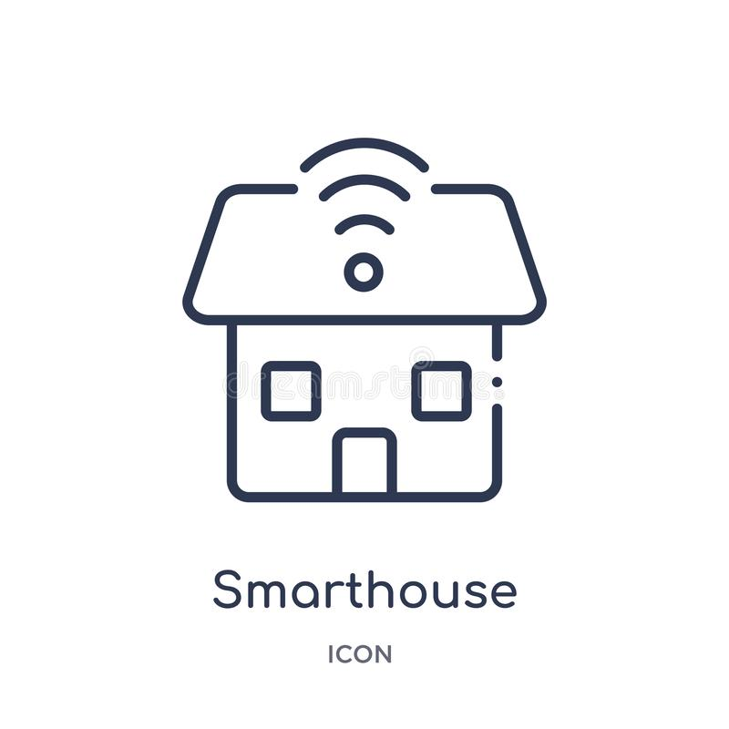 Icono linear del smarthouse de la colección del esquema de la electrónica Línea fina icono del smarthouse aislado en el fondo bla libre illustration