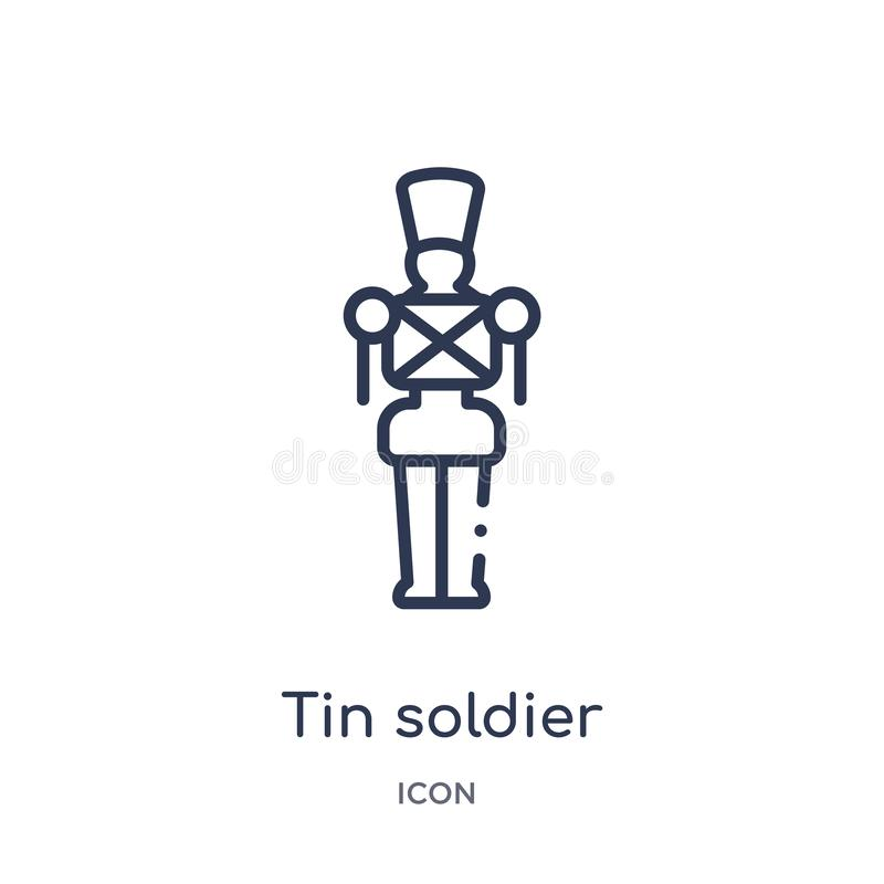Icono linear del soldado de lata de la colección del esquema de la Navidad Línea fina vector del soldado de lata aislado en el fo ilustración del vector