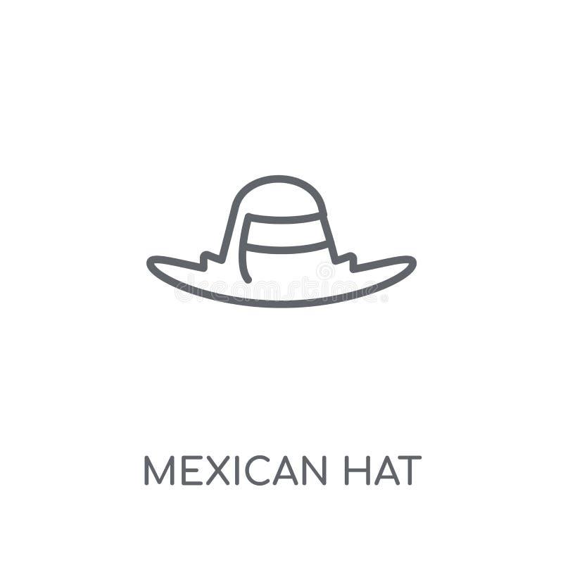 Icono linear del sombrero mexicano Concepto moderno del logotipo del sombrero mexicano del esquema ilustración del vector