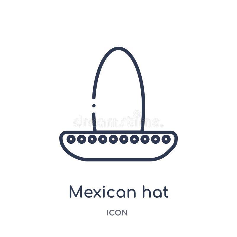 Icono linear del sombrero mexicano de la colección del esquema del desierto Línea fina vector del sombrero mexicano aislado en el ilustración del vector