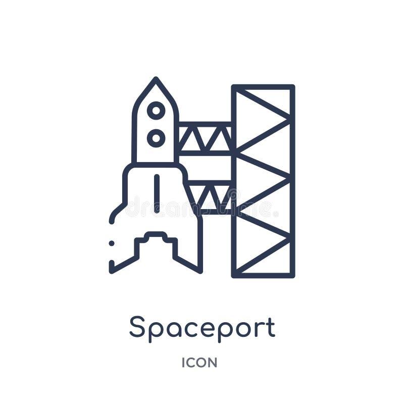 Icono linear del spaceport de la colección del esquema de la astronomía Línea fina vector del spaceport aislado en el fondo blanc ilustración del vector