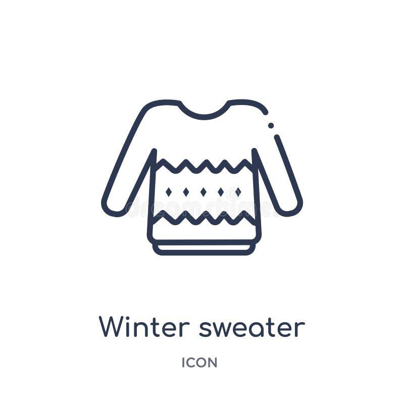 Icono linear del suéter del invierno de la colección del esquema de la Navidad Línea fina icono del suéter del invierno aislado e libre illustration