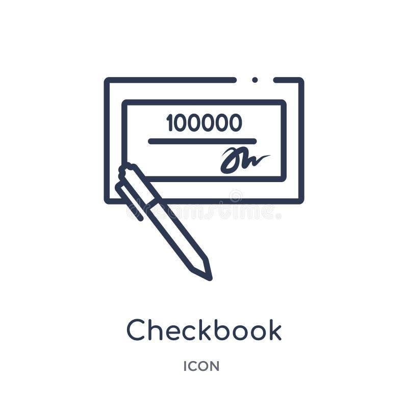 Icono linear del talonario de cheques de la colección del esquema de la economía de Digitaces Línea fina vector del talonario de  stock de ilustración