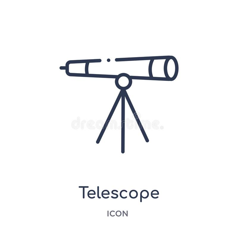 Icono linear del telescopio de la colección del esquema de la educación Línea fina vector del telescopio aislado en el fondo blan ilustración del vector