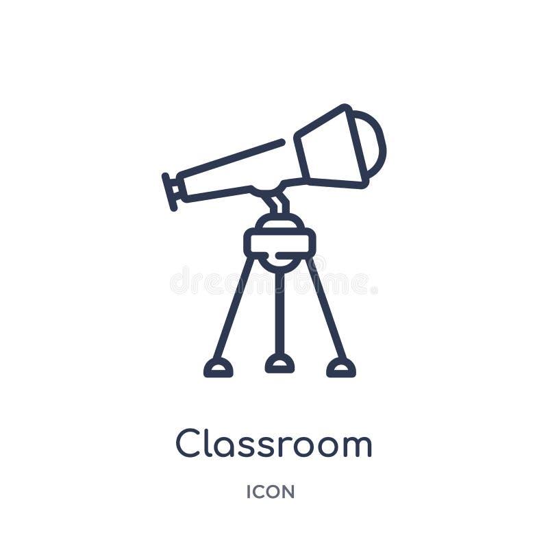 Icono linear del telescopio de la sala de clase de la colección del esquema general Línea fina icono del telescopio de la sala de stock de ilustración