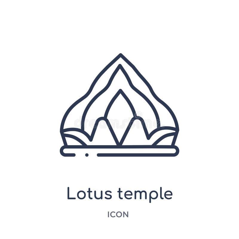 Icono linear del templo del loto de la colección del esquema de la India Línea fina icono del templo del loto aislado en el fondo libre illustration