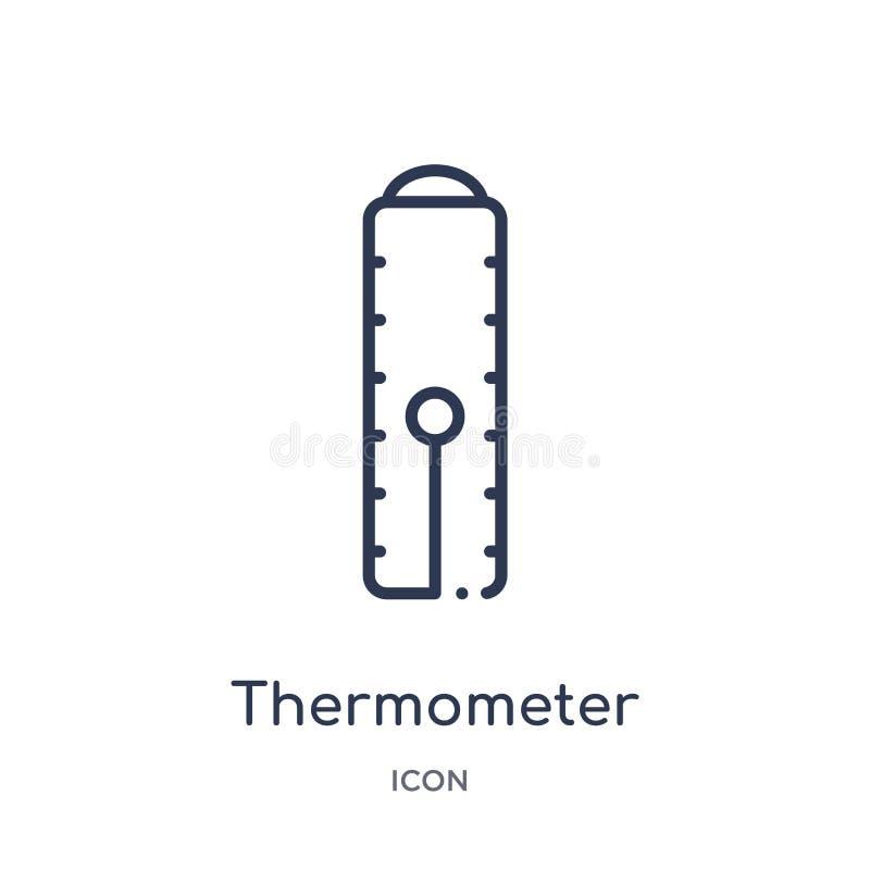 Icono linear del termómetro de la colección del esquema de la industria Línea fina icono del termómetro aislado en el fondo blanc stock de ilustración