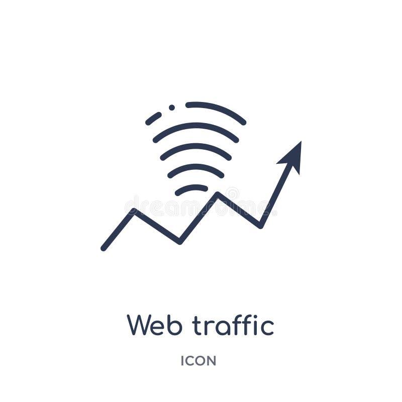 Icono linear del tráfico de la web de la seguridad de Internet y de la colección del esquema del establecimiento de una red Línea stock de ilustración