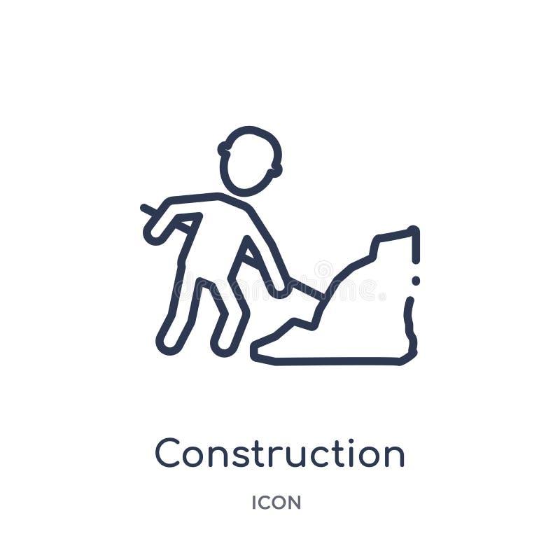 Icono linear del trabajador de construcción de la colección del esquema de los seres humanos Línea fina icono del trabajador de c ilustración del vector