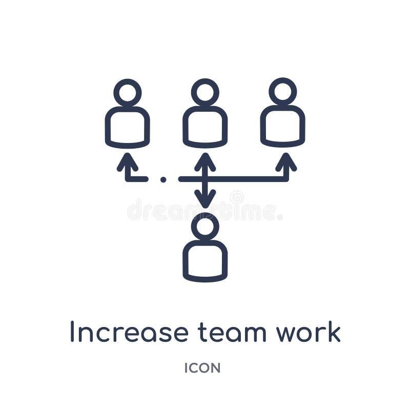 Icono linear del trabajo del equipo del aumento de la colección del esquema del negocio Línea fina icono del trabajo del equipo d stock de ilustración