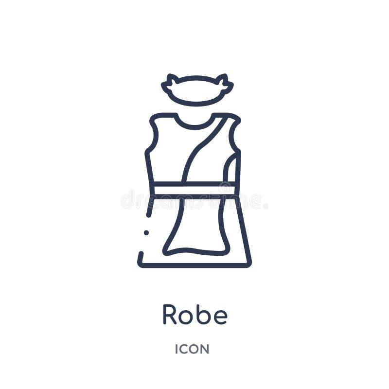 Icono linear del traje de la colección del esquema de Grecia Línea fina icono del traje aislado en el fondo blanco ejemplo de mod libre illustration