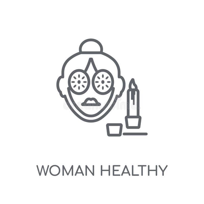 Icono linear del tratamiento sano de la mujer Salud moderna de la mujer del esquema ilustración del vector