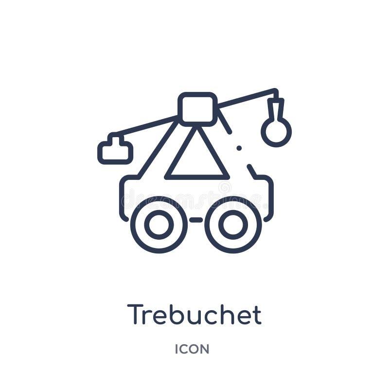 Icono linear del trebuchet de la colección del esquema de las culturas Línea fina icono del trebuchet aislado en el fondo blanco  stock de ilustración
