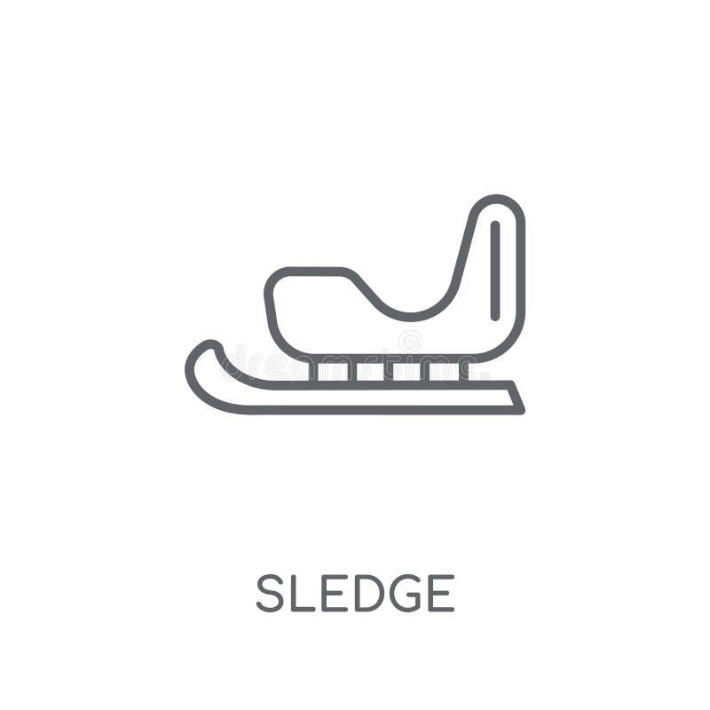 Icono linear del trineo Concepto moderno del logotipo del trineo del esquema en blanco stock de ilustración