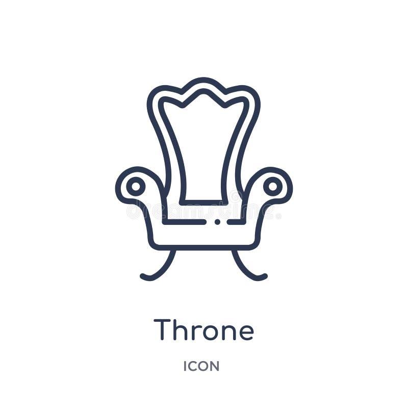 Icono linear del trono de la colección de lujo del esquema Línea fina icono del trono aislado en el fondo blanco ejemplo de moda  ilustración del vector