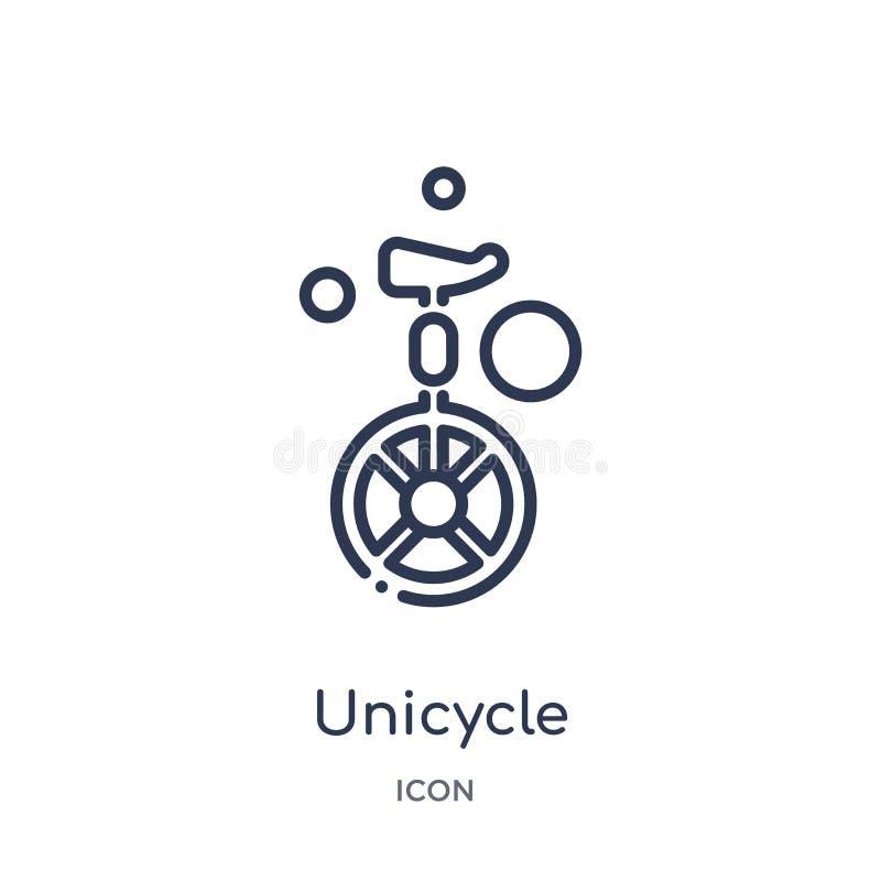 Icono linear del unicycle de la colección mágica del esquema Línea fina icono del unicycle aislado en el fondo blanco unicycle de stock de ilustración