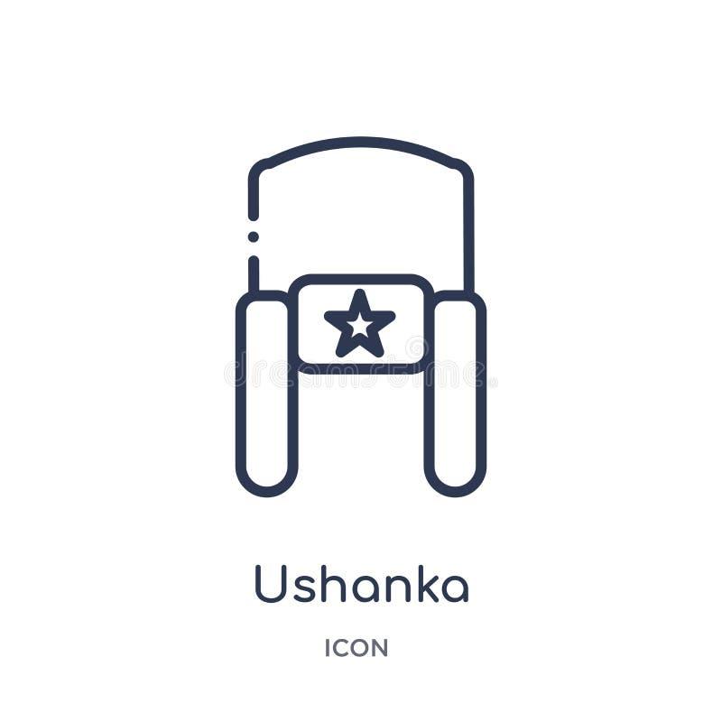 Icono linear del ushanka de la colección del esquema de la ropa Línea fina vector del ushanka aislado en el fondo blanco ushanka  ilustración del vector