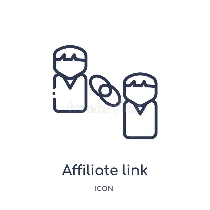 Icono linear del vínculo del afiliado de la colección del esquema general Línea fina icono del vínculo del afiliado aislado en el libre illustration