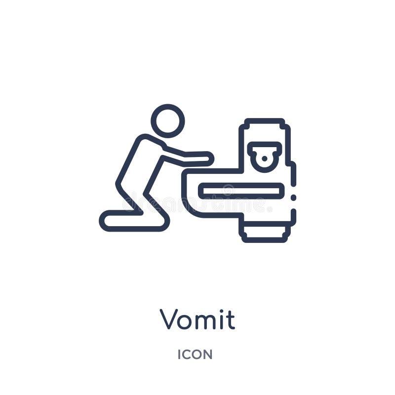 Icono linear del vómito de la colección del esquema de la discoteca Línea fina vector del vómito aislado en el fondo blanco vómit ilustración del vector