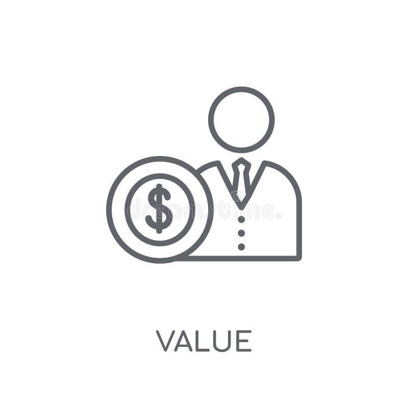 Icono linear del valor Concepto moderno del logotipo del valor del esquema en los vagos blancos libre illustration