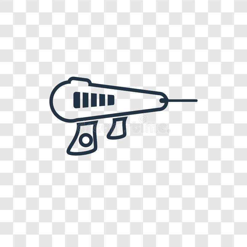 Icono linear del vector del concepto del arma del laser aislado en el CCB transparente ilustración del vector