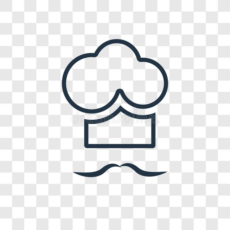 Icono linear del vector del concepto del cocinero aislado en backgrou transparente ilustración del vector