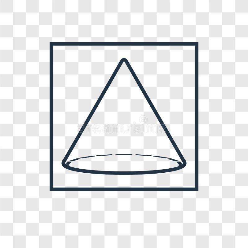 Icono linear del vector del concepto del cono aislado en backgrou transparente stock de ilustración