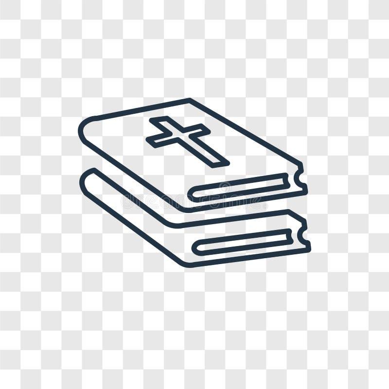 Icono linear del vector del concepto de la biblia aislado en backgro transparente ilustración del vector