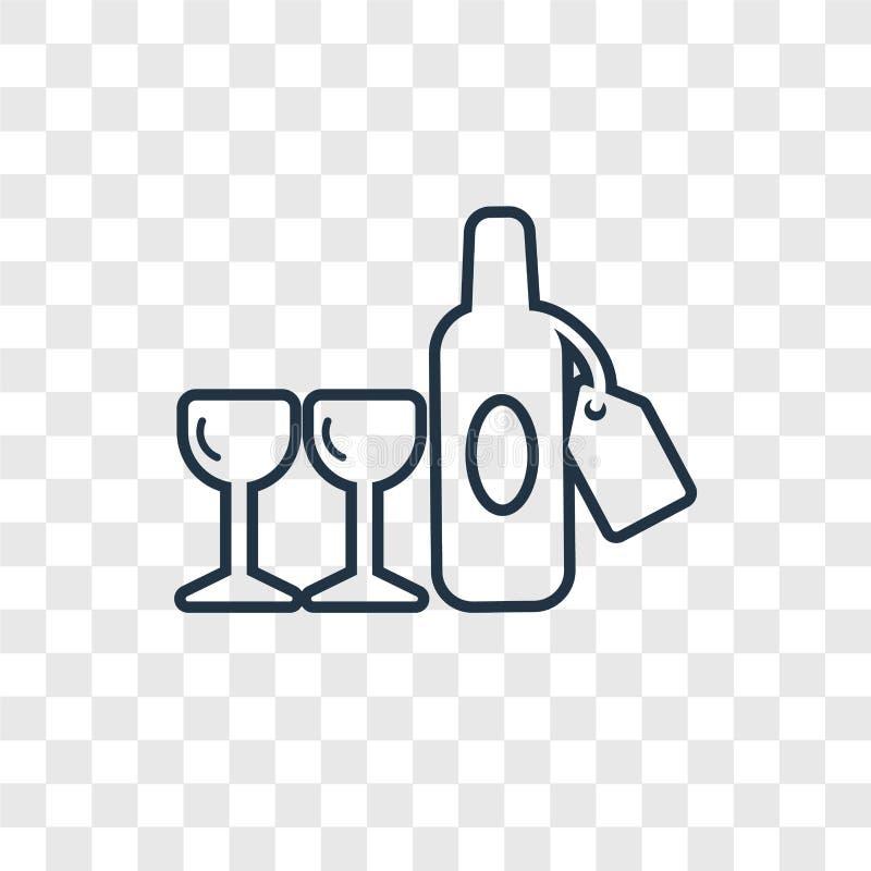 Icono linear del vector del concepto de la botella de vino aislado en b transparente stock de ilustración