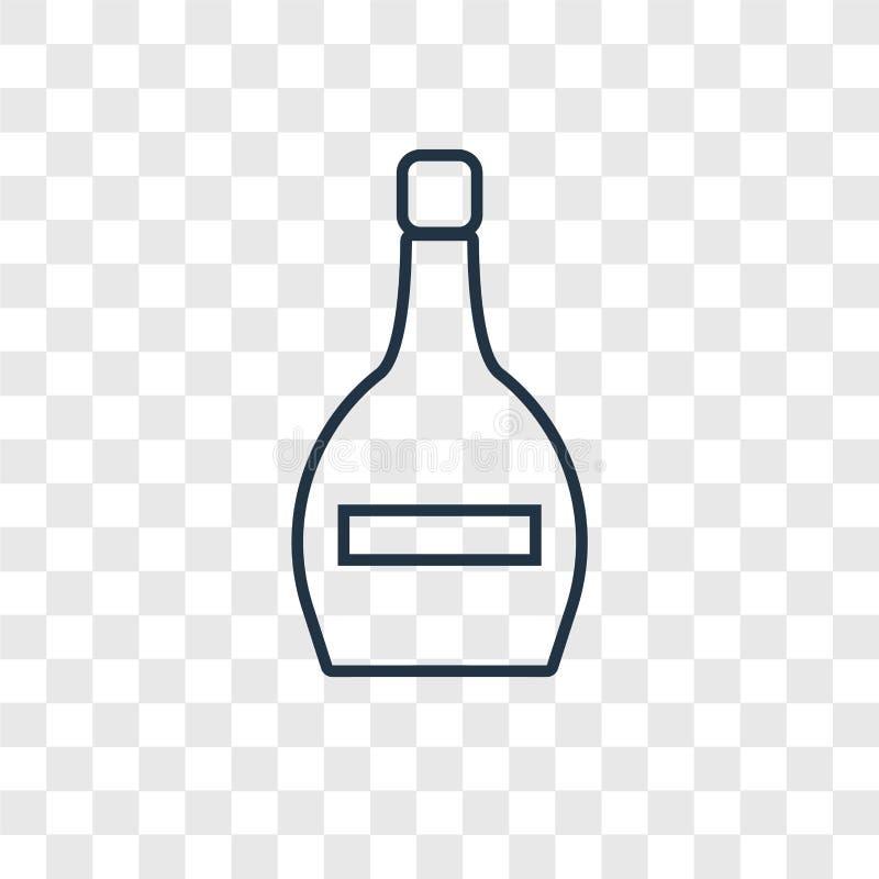 Icono linear del vector del concepto de la botella de vino aislado en b transparente ilustración del vector