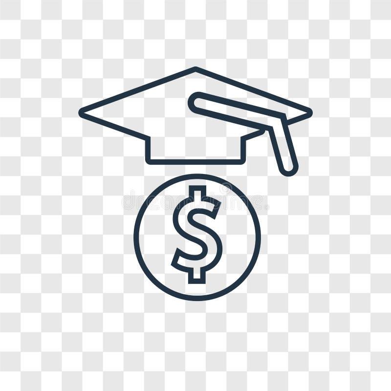 Icono linear del vector del concepto de la educación aislado en el CCB transparente stock de ilustración