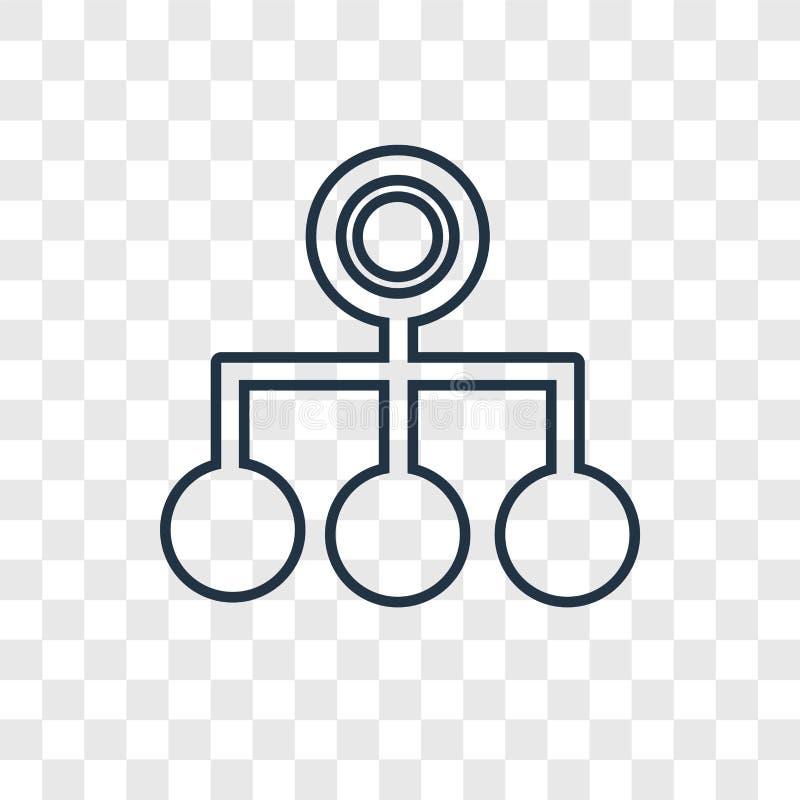Icono linear del vector del concepto de la estructura jerárquica aislado en el tr stock de ilustración
