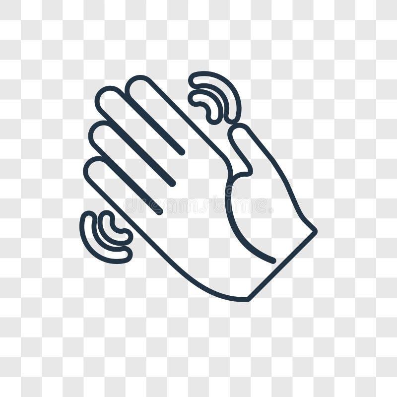 Icono linear del vector del concepto de la mano que agita aislado en b transparente ilustración del vector