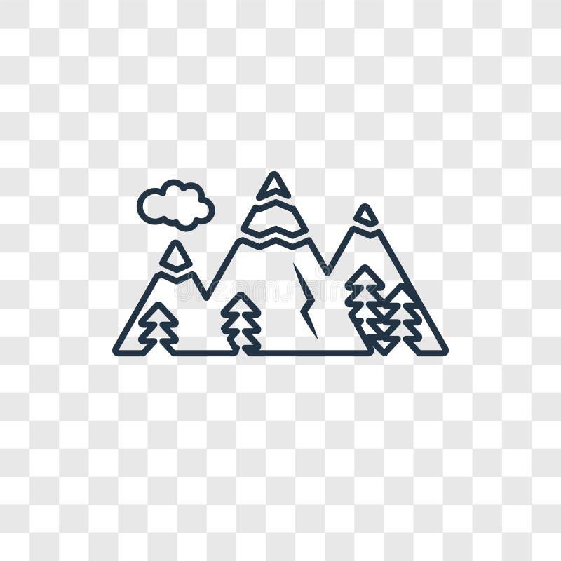 Icono linear del vector del concepto de la montaña aislado en la parte posterior transparente ilustración del vector