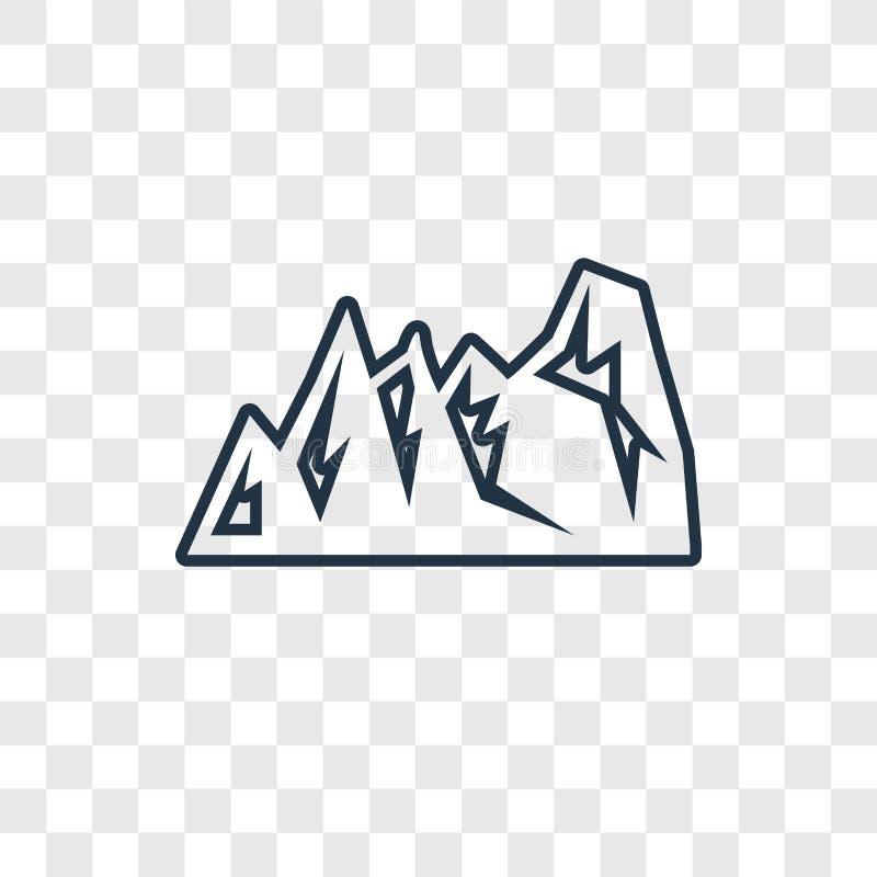 Icono linear del vector del concepto de la montaña aislado en la parte posterior transparente libre illustration