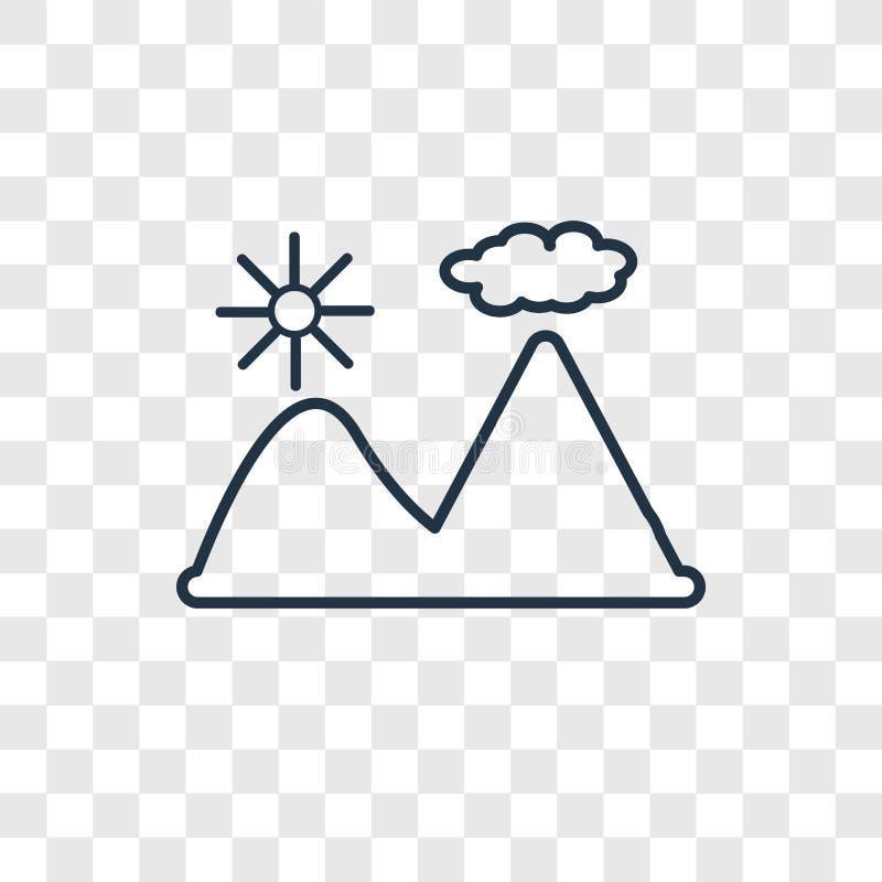 Icono linear del vector del concepto de la montaña aislado en la parte posterior transparente stock de ilustración