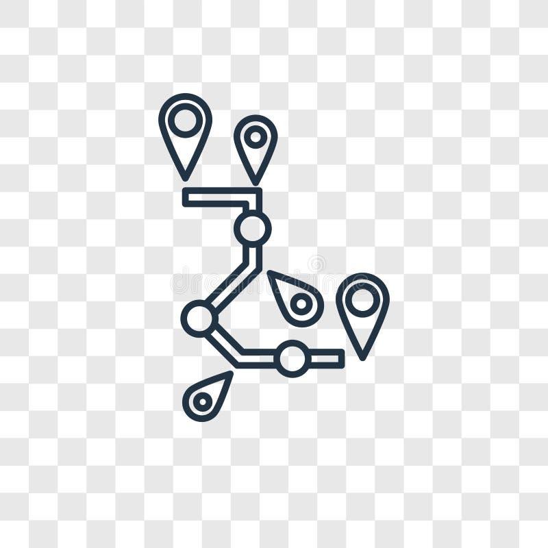 Icono linear del vector del concepto de la ruta aislado en backgro transparente libre illustration