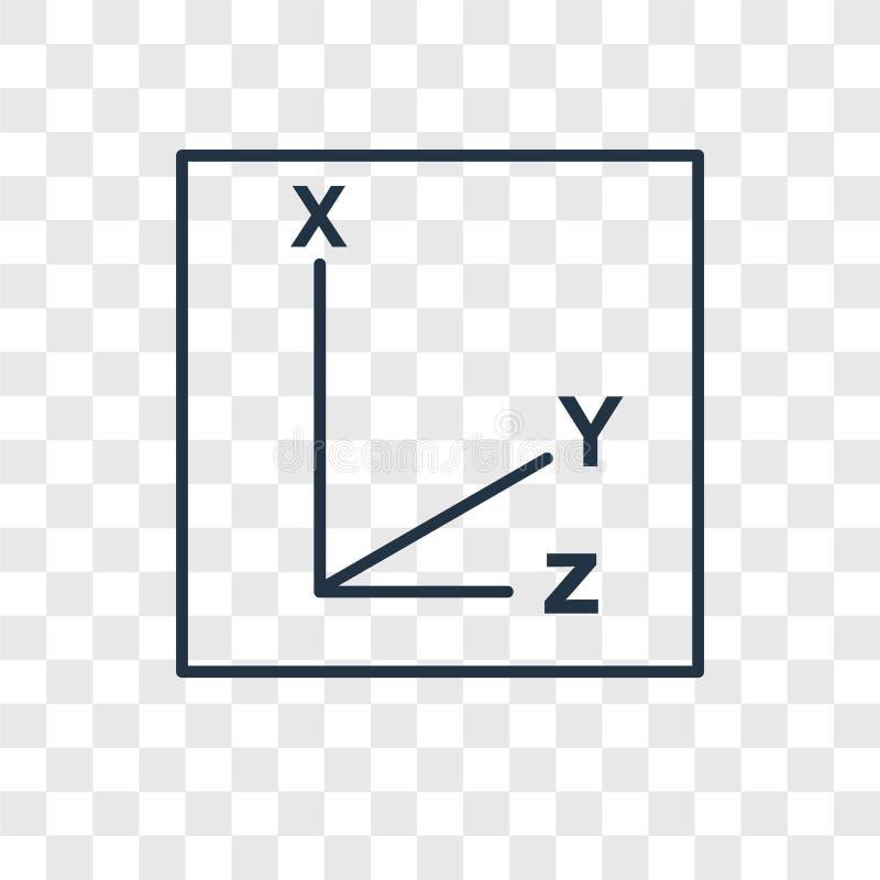 Icono linear del vector del concepto de los coordenadas aislado en b transparente stock de ilustración