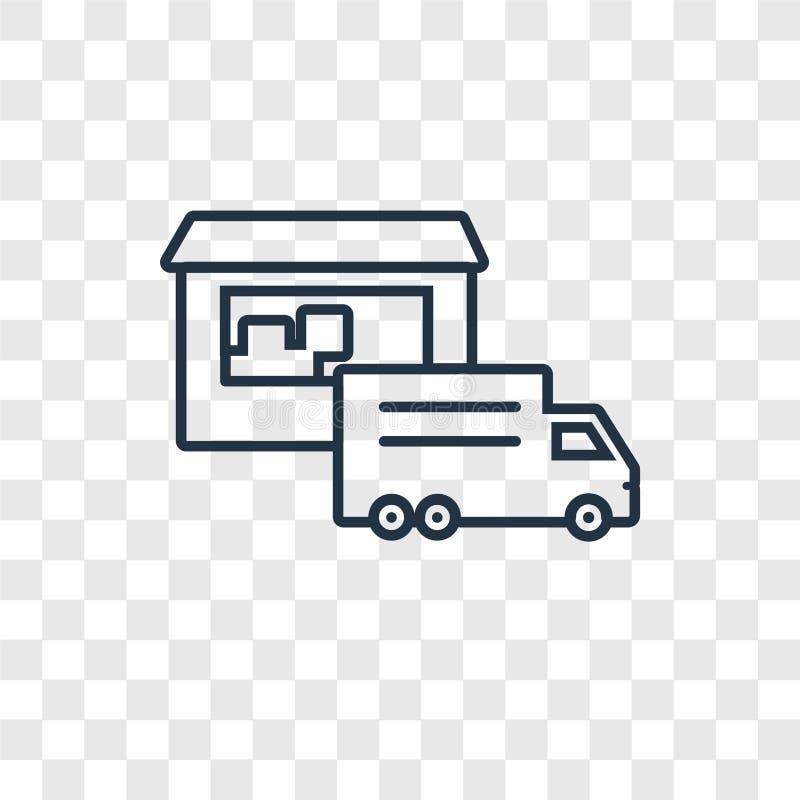 Icono linear del vector del concepto de Warehouse aislado en el CCB transparente stock de ilustración