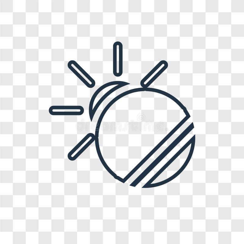 Icono linear del vector del concepto del eclipse aislado en backg transparente stock de ilustración