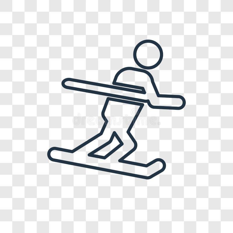 Icono linear del vector del concepto del esquí aislado en backgroun transparente libre illustration