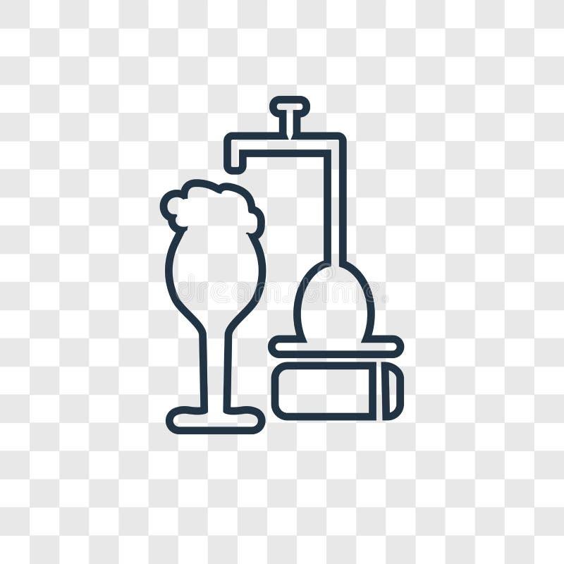 Icono linear del vector del concepto del golpecito de la cerveza aislado en la parte posterior transparente libre illustration