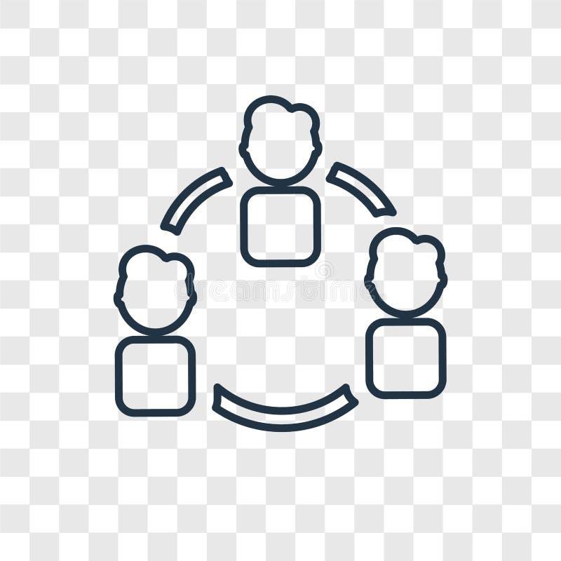 Icono linear del vector del concepto del grupo aislado en backgro transparente stock de ilustración