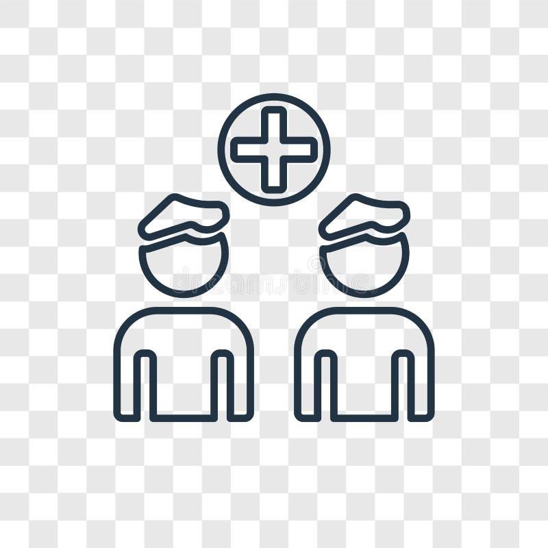 Icono linear del vector del concepto del grupo de personas en transpare stock de ilustración