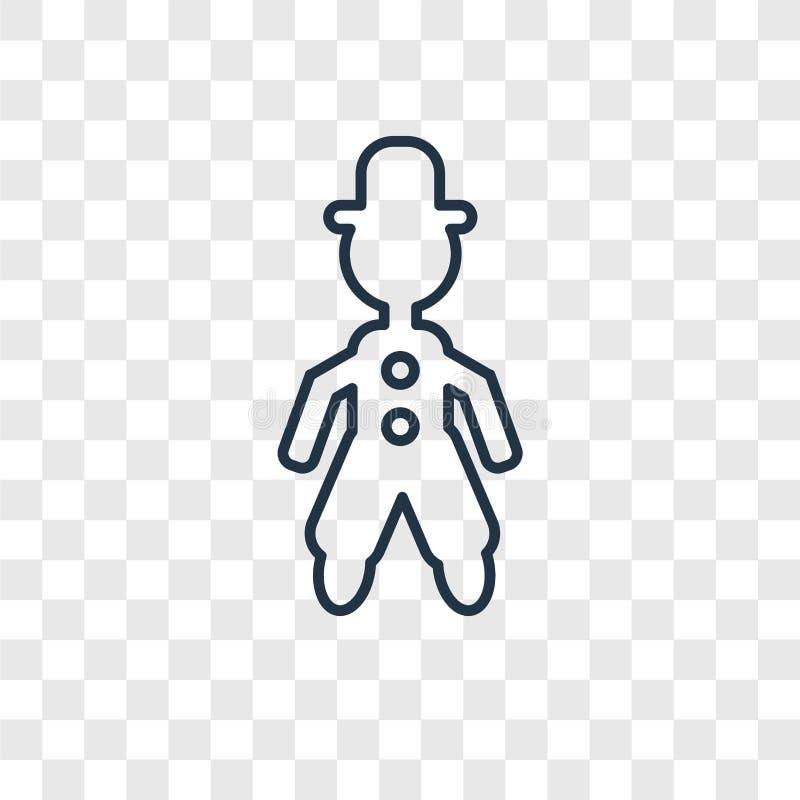 Icono linear del vector del concepto del hombre del acróbata aislado en b transparente ilustración del vector